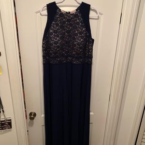 Night Way navy/nude lace a-line gown sz 18W